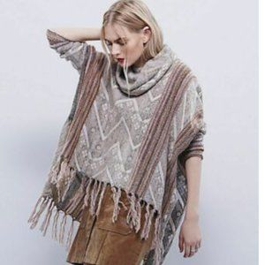Free People Knit Poncho Sweater with Fringe